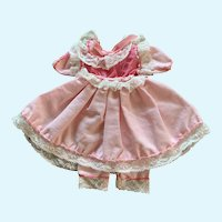 """Vintage Frilly Pink Cotton and Lace Doll Dress & Pantaloons for 8"""" - 9"""""""