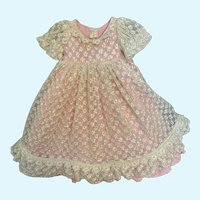 """Pretty Vintage Taffeta and Lace Doll Dress for 11""""-13"""" French German China Bisque"""