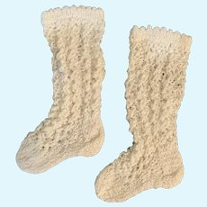 "White Crochet Open-Weave Doll Socks / Stockings 2.25"" Foot"