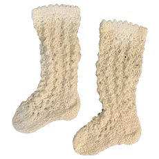 """White Crochet Open-Weave Doll Socks / Stockings 2.25"""" Foot"""