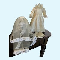 """Vintage Cream Satin and Lace Doll Wedding Gown, Slip, and Veil for 15""""-16"""" Compo HP"""