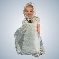 """2.5""""  Vintage Plastic Dollhouse Infant in Christening Gown"""