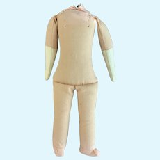 "Nice 7"" Stuffed Cloth Body for China Bisque Doll"