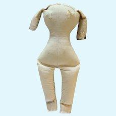 "Wonderful Old 11.5"" Muslin Body Stuffed With Sawdust for China Doll"