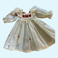 Vintage Embroidered Organdy Doll Dress for Large French German Bisque