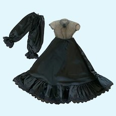 "Unique Vintage Black Taffeta Slip and Pantaloons for 16""-18"" Doll"