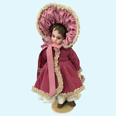 "Velvet, Satin, and Lace Doll Ensemble for 15""-17"" French German Bisque"