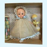 """1950's Krueger 8"""" Plastic Baby Doll in Original Box for Christmas"""