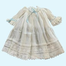 Vintage Sheer Cotton Doll Gown for French German Bisque
