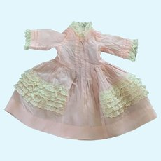 Sweet Pink Taffeta and Lace Doll Dress for French German Bisque
