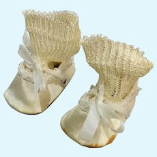 "Wonderful Vintage Silk Doll Shoes with Socks for 2"" Foot"