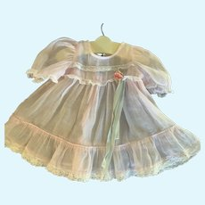 Delicate Vintage Pink Organdy Doll Dress for Medium Doll