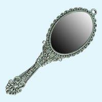 "Vintage Miniature Ornate Doll Mirror 3"" Long"