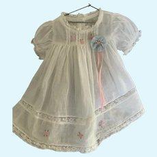 Vintage White Sheer Organdy Dress for Medium Doll