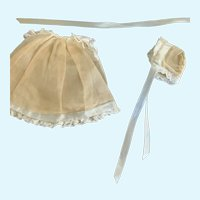 """Sweet Ecru Cotton Batiste Doll Gown, Slip, and Bonnet for 7""""-8"""""""