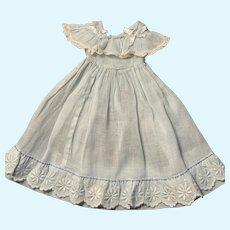 Heavenly Blue Organdy Dress for French German Bisque China Doll