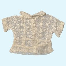 Embroidered French Net Lace Doll Blouse for French German Bisque China