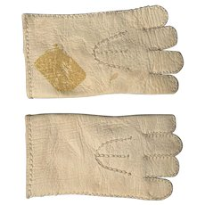 """Old Kid Leather French German Doll Gloves 3"""" Long"""