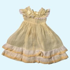 Feminine Yellow Organdy Dress for French German Bisque China Doll