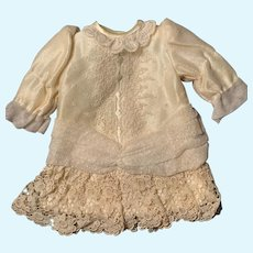 Cream Taffeta and Lace Drop Waist Doll Dress for French German Bisque