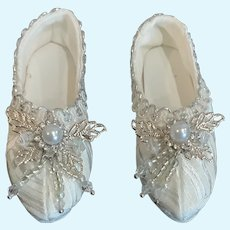 "Beautiful Silk Evening Slippers for French German Doll with 3"" Foot"
