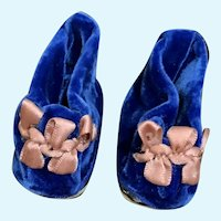 Rich Royal Blue Velvet Slip-On Doll Shoes with Mauve French Silk Ribbon