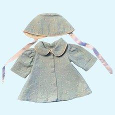 """Awesome Vintage Coat & Bonnet for 14""""-16"""" Doll"""