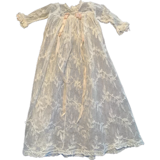 Exquisite French Net Lace Doll Gown for Small French German Bisque