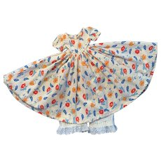 Vintage Cotton Linen Dress with Pantaloons for China Bisque Doll