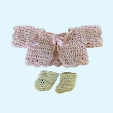 Vintage Knitted Sweater and Booties for Small French German Baby Doll