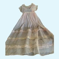 Vintage Pale Pink Batiste and Lace Doll Gown