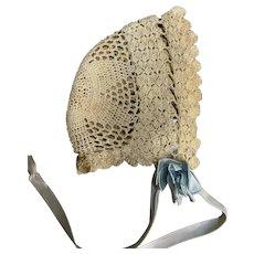 Vintage Crochet Bonnet for French German Doll