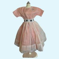 Vintage 1950's Taffeta and Organdy Dress for Fashion Doll