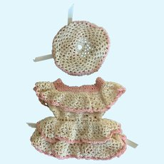 """Sweet Vintage Crochet Doll Dress and Hat for 9"""" - 10"""" French German"""
