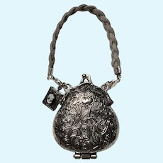 Unique Tibetan Silver Doll Purse with Cameo Chatelaine Locket