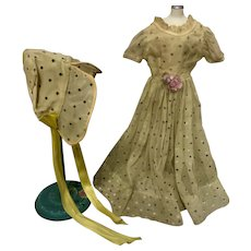 "Vintage 1950's Yellow Nylon Factory Dress & Bonnet for 18"" Doll"
