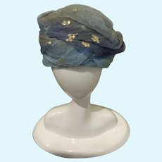 Vintage Blue Chiffon Turban Hat for Tiny French German Bisque Doll