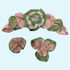 3-Piece Silk Taffeta Ribbon-Work  Passmenteri for Doll Clothes