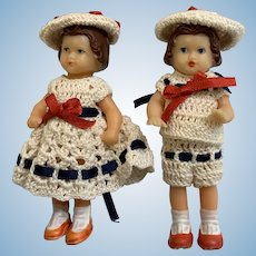 "Vintage German Vinyl 3"" Dolls Dressed to Match"