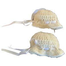 Pair of Vintage Knitted Hats for Tiny Dolls