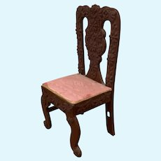 """Vintage Chippendale Upholstered Doll Chair 6.5"""""""