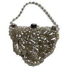 Elegant Glass Bead, Pearl, & Rhinestone Doll Purse