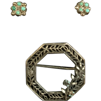 Sterling Silver Doll Pin with Silver Amazonite Earrings