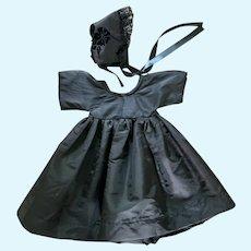 Sweet Black Silk Taffeta Dress and Bonnet for Izannah Walker Doll