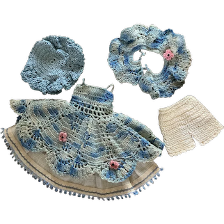 Lovely 5-Piece Vintage Cotton Crochet Ensemble for Small Doll
