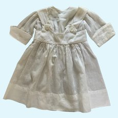 Vintage White Doll Dress for Larger French German Bisque