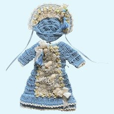 Exquisite Crochet Doll Dress w/ Bonnet for Small French German Bisque