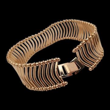 Vintage tubular bracelet in goldtone metal