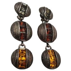 Vintage Dangling ear clips in gun metal with swarovski crystals by Yves Saint Laurent