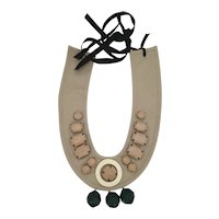 Necklace in beige cotton embellished with resin cabochons by Prada